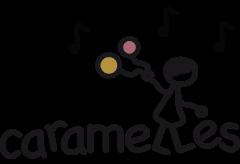 Logo Caramelles: ein Mädchen mit Luftballons und Noten im Hintergrund